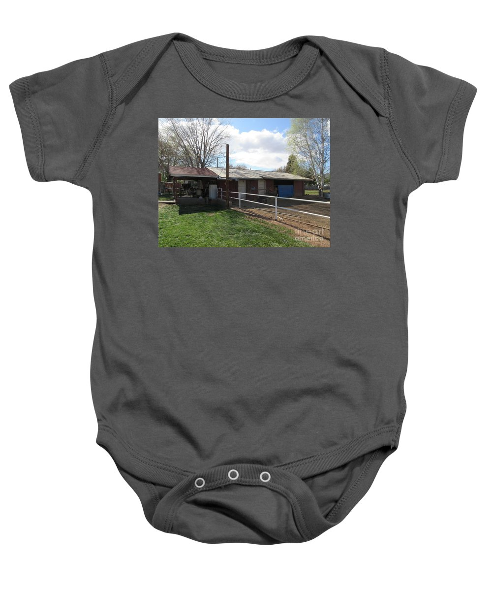 Old Baby Onesie featuring the photograph Old Mormon Barn by Frederick Holiday
