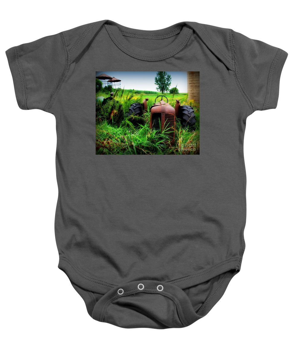 Tractor Baby Onesie featuring the photograph Old Oliver by Perry Webster