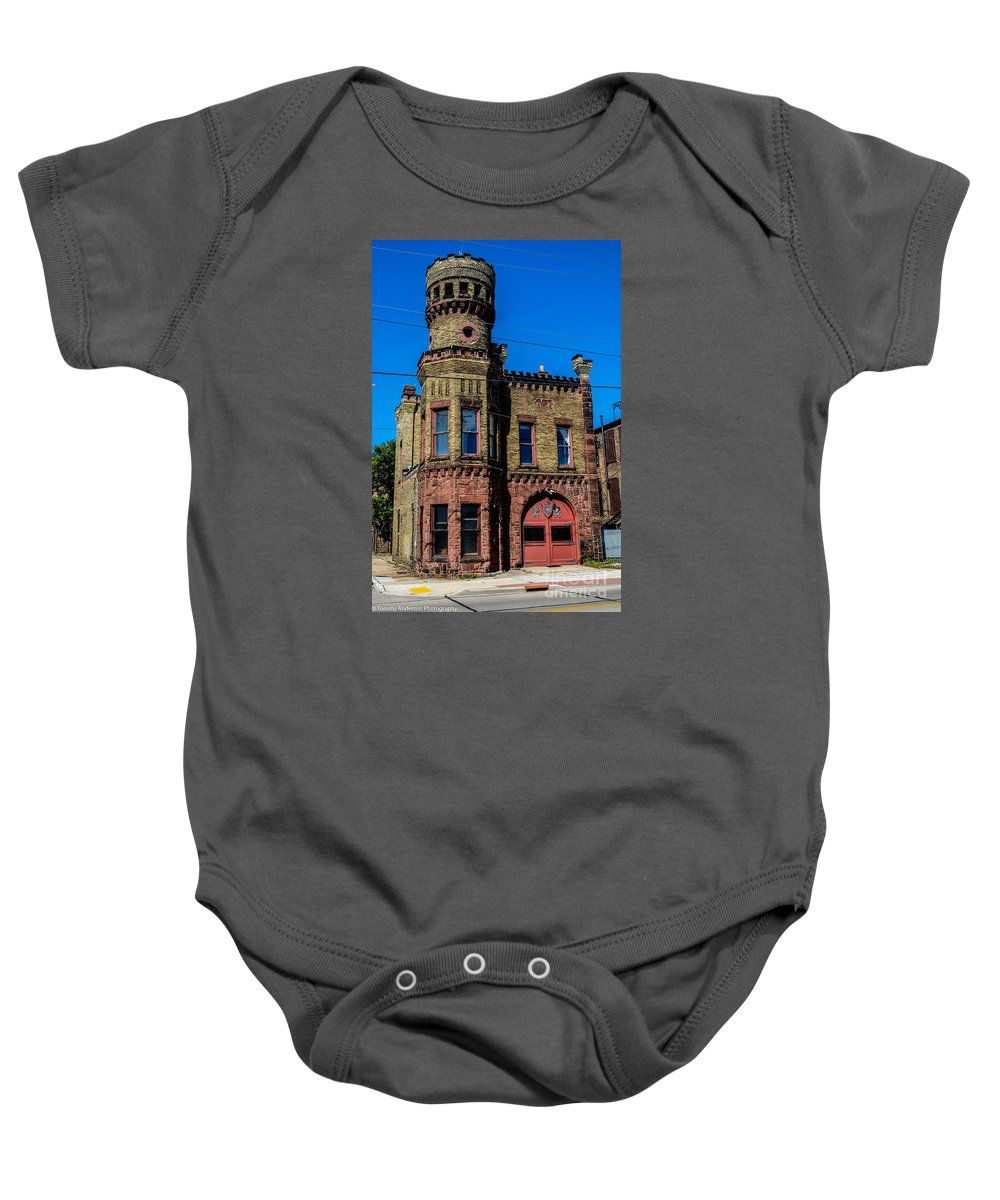 Fire Station Baby Onesie featuring the photograph Old Racine Fire Station by Tommy Anderson