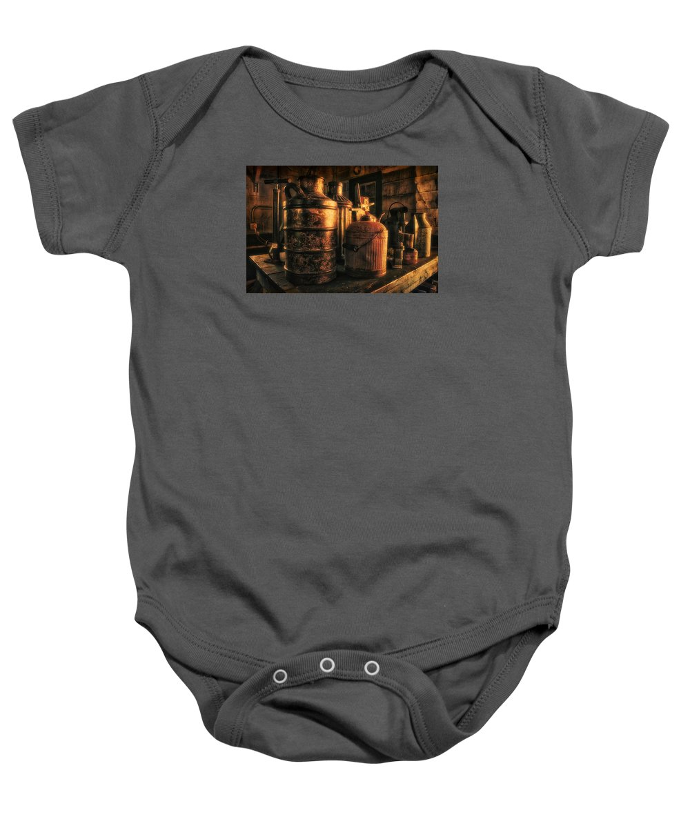 Rustic Baby Onesie featuring the photograph Old Rustic Cans by Thomas Woolworth