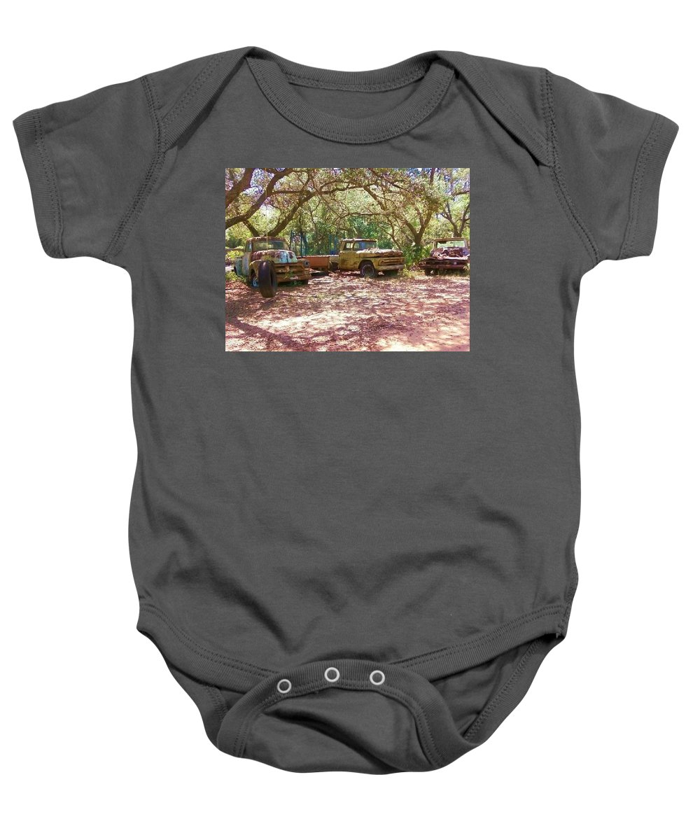 Trucks Baby Onesie featuring the photograph Old Time Trucks by Michelle Powell