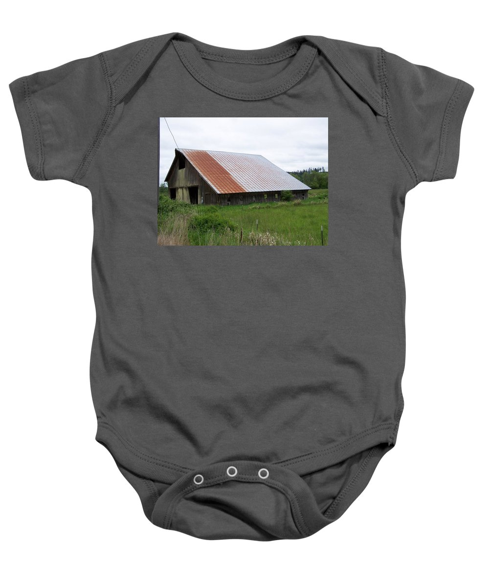 Barn Baby Onesie featuring the photograph Old Tin Roof Barn Washington State by Laurie Kidd