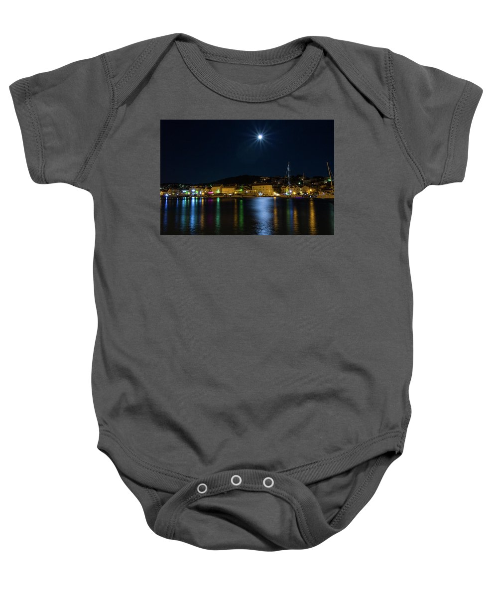 Old Baby Onesie featuring the photograph Old Town At Night by Viktor Estefan