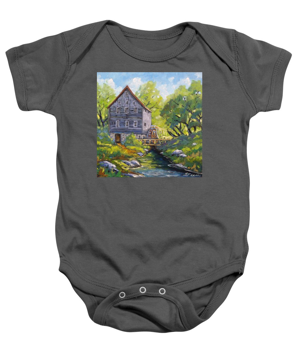 Art Baby Onesie featuring the painting Old Watermill by Richard T Pranke