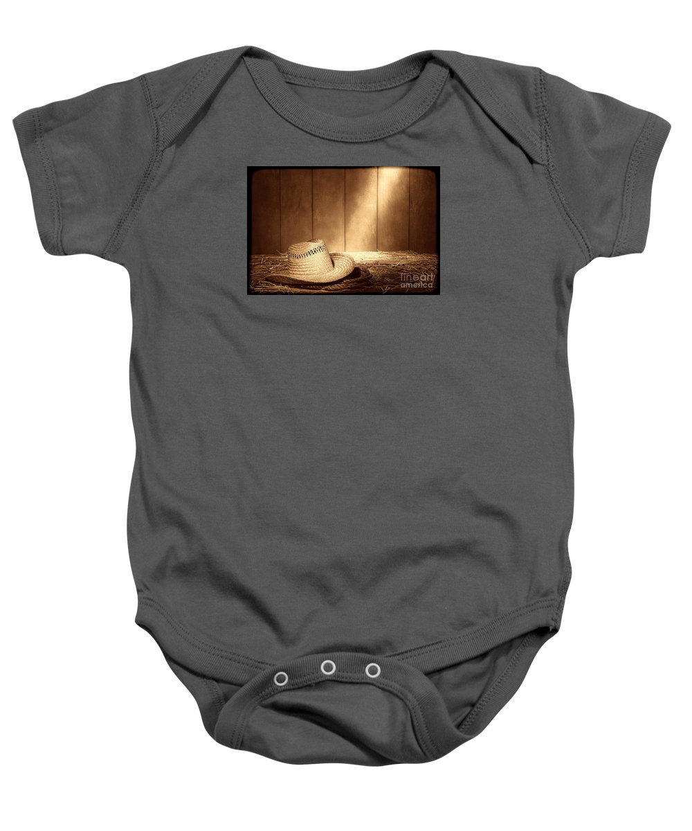 Straw Baby Onesie featuring the photograph Old West Farmer Hat by American West Legend By Olivier Le Queinec