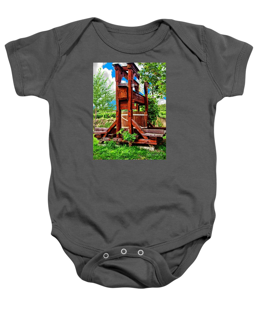 Mariola Bitner Baby Onesie featuring the photograph Old Wine Press by Mariola Bitner