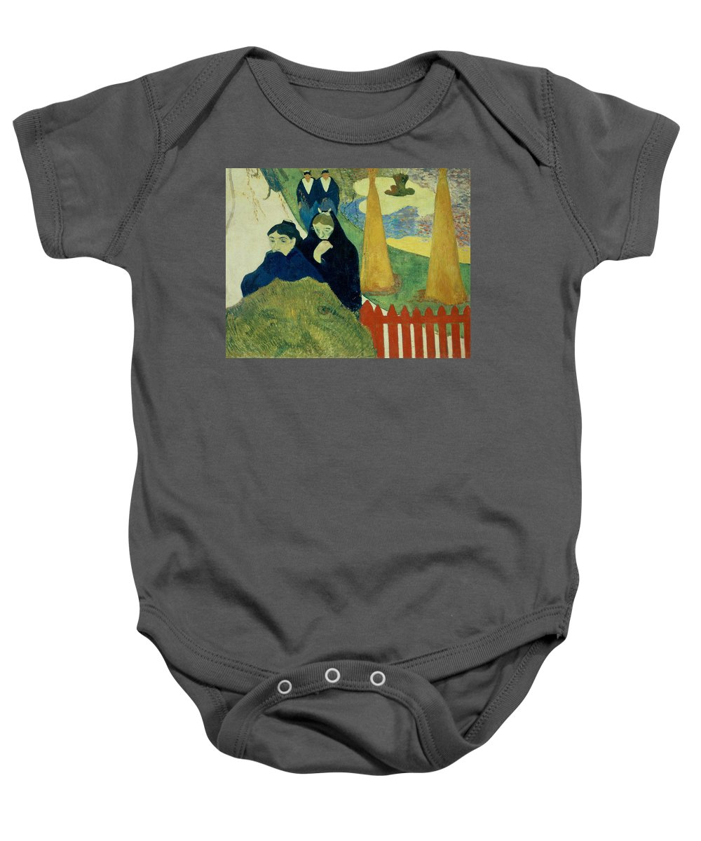 Old Women Of Arles Baby Onesie featuring the painting Old Women Of Arles by Paul Gauguin