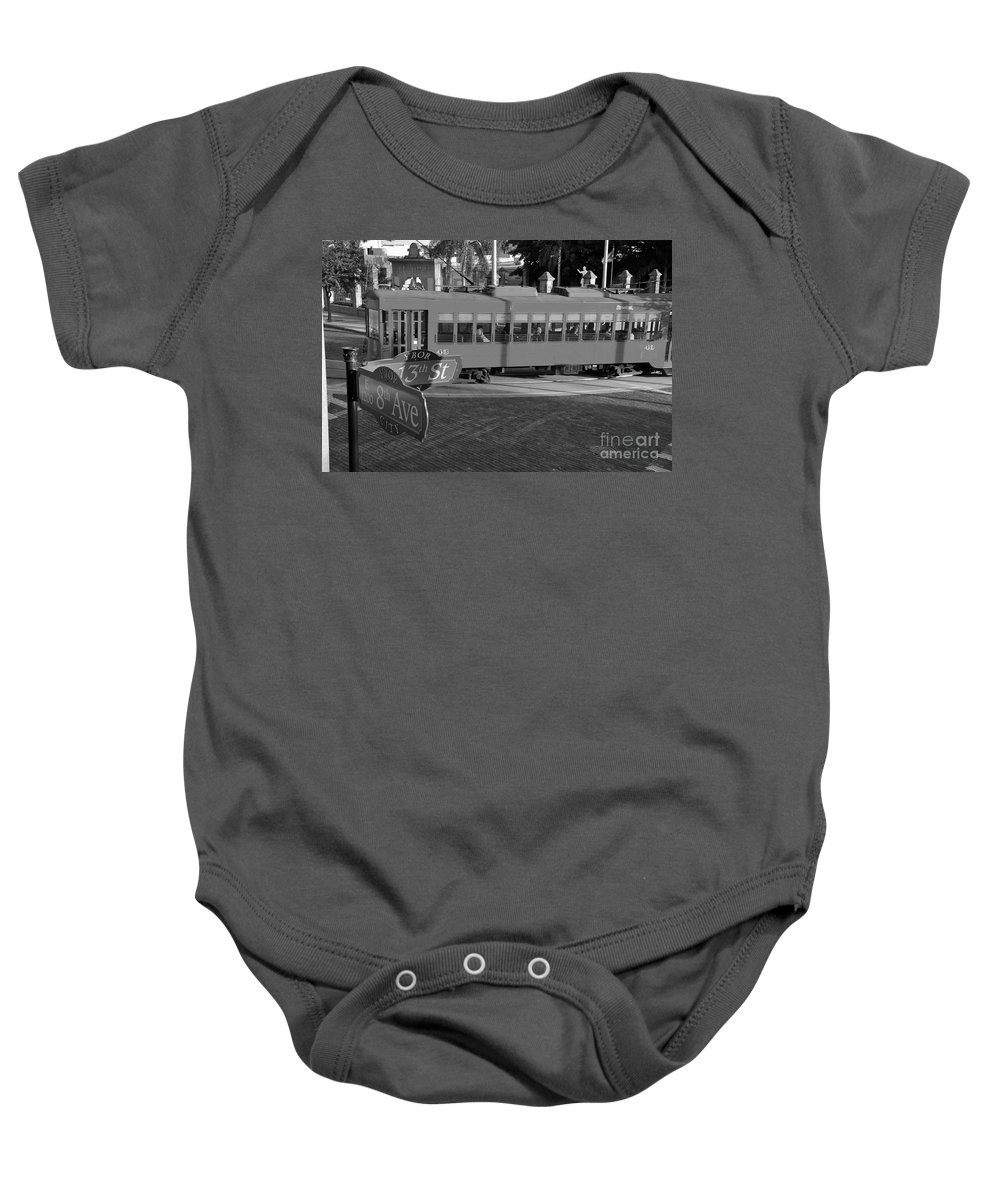 Ybor City Florida Baby Onesie featuring the photograph Old Ybor City Trolley by David Lee Thompson