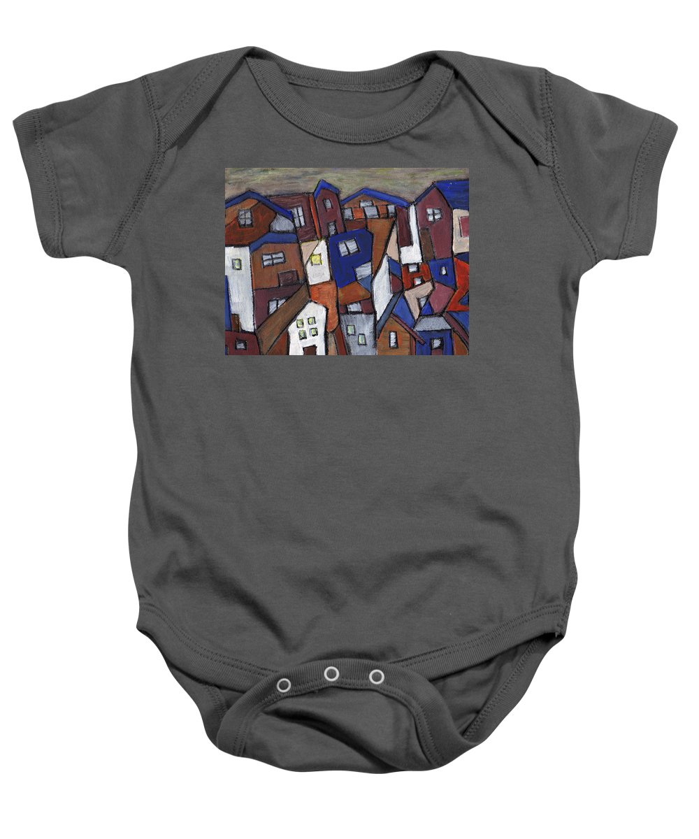Urban Baby Onesie featuring the painting Olde Towne by Wayne Potrafka