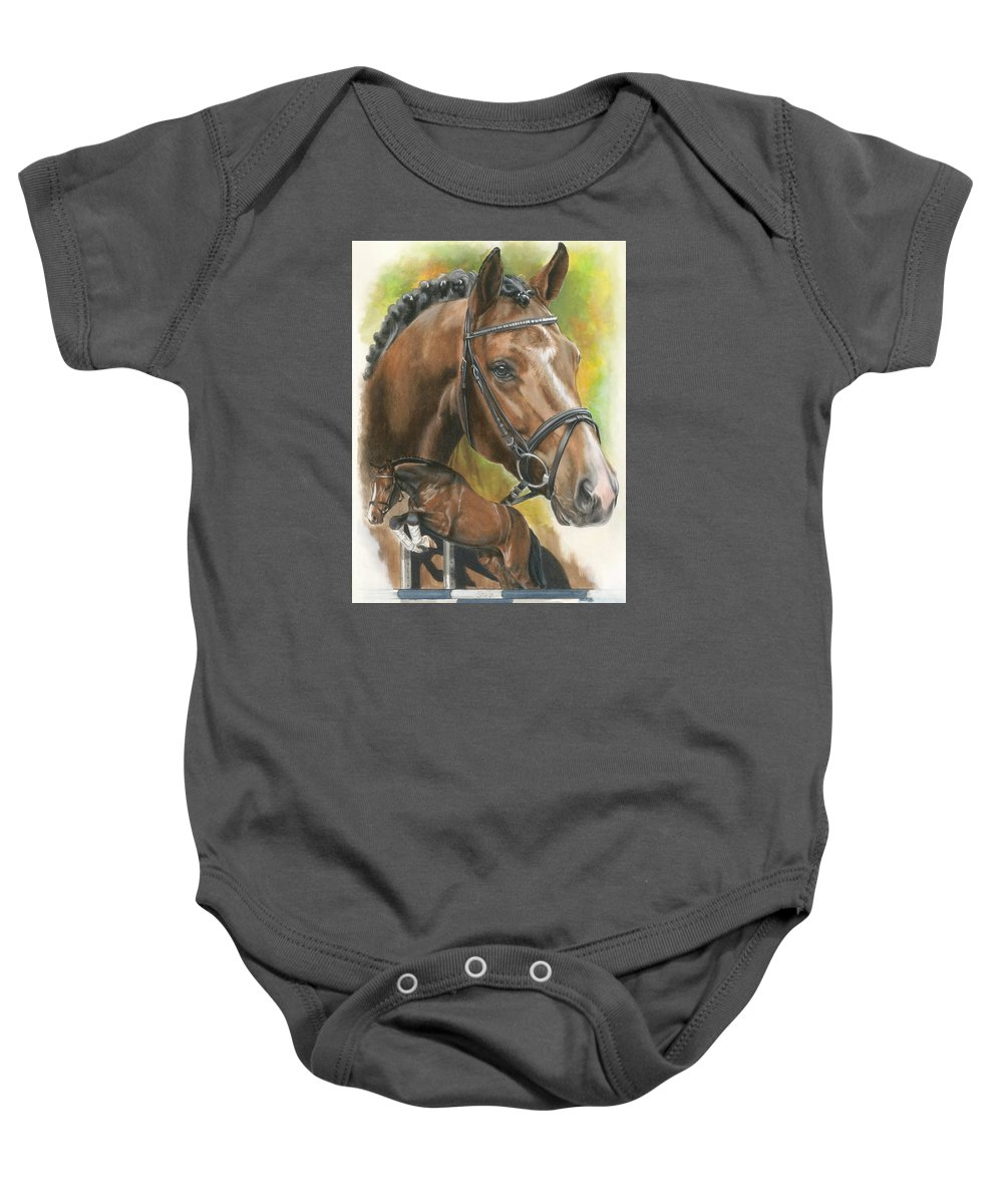 Hunter Jumper Baby Onesie featuring the mixed media Oldenberg by Barbara Keith