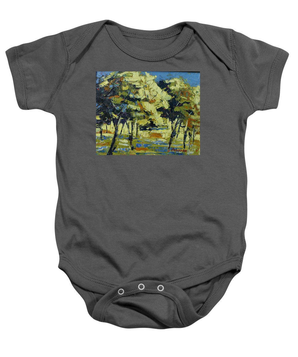 Landscape Baby Onesie featuring the painting Olive Grove by Yvonne Ankerman