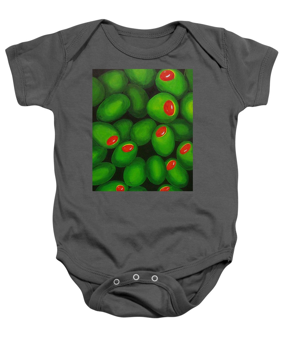 Olive Baby Onesie featuring the painting Olives by Micah Guenther