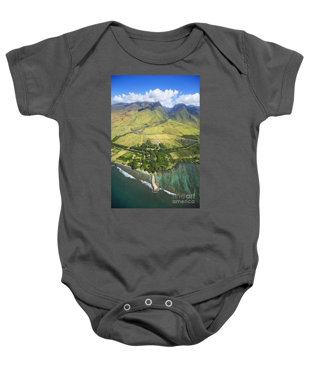Above Baby Onesie featuring the photograph Olowalu Aerial by Ron Dahlquist - Printscapes
