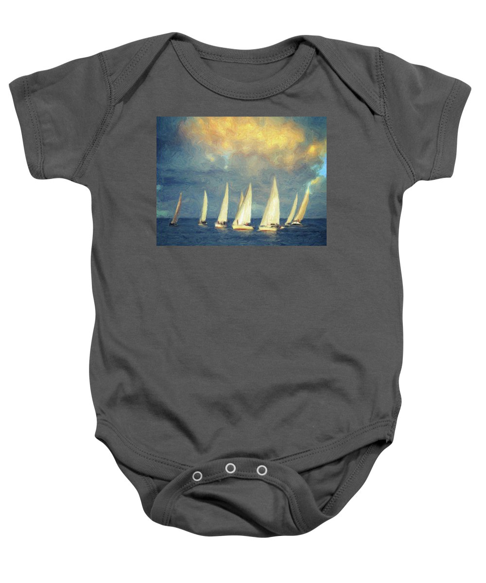 Oil Painting Baby Onesie featuring the painting On A Day Like Today by Zapista