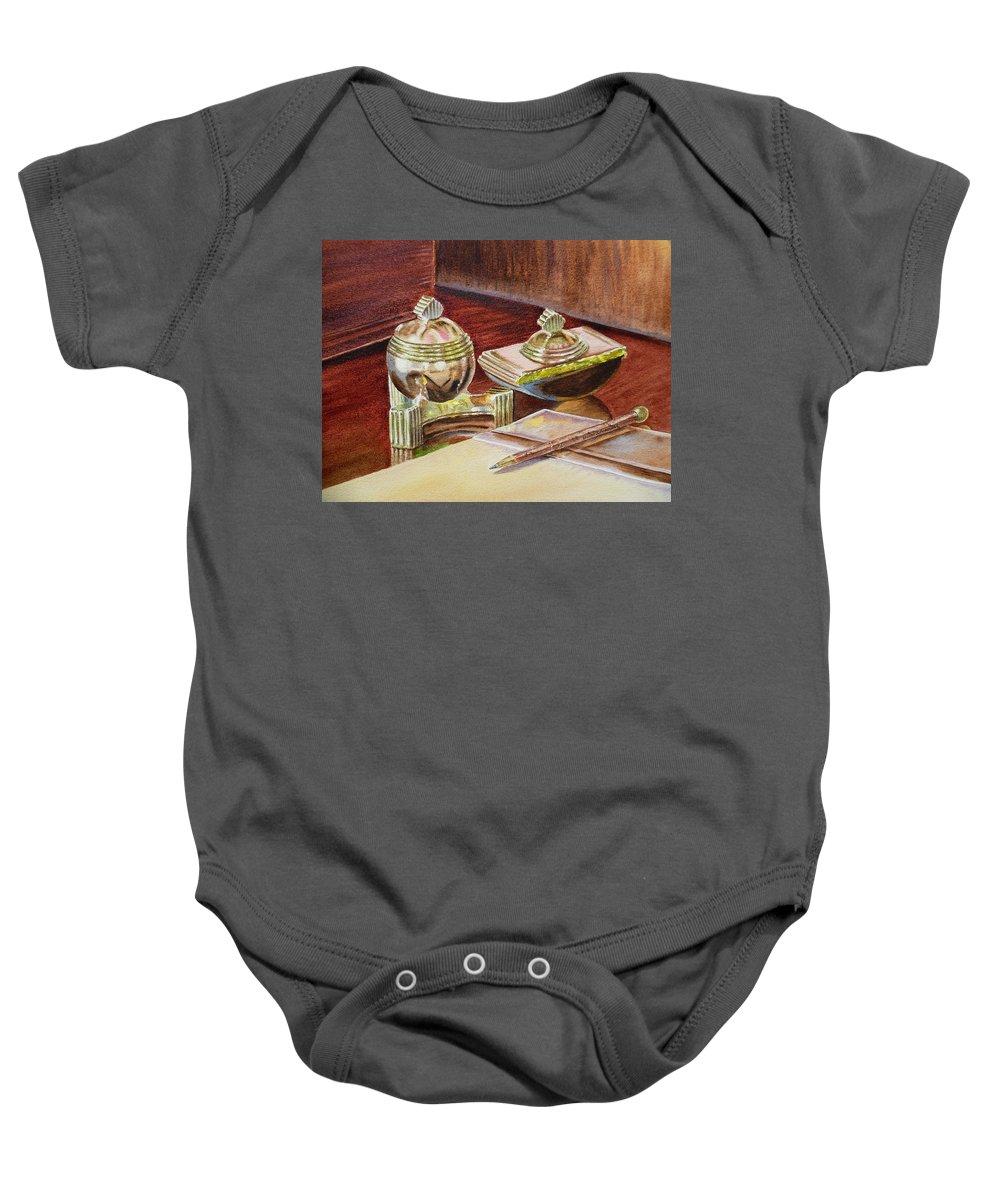 Tao Baby Onesie featuring the painting On A Desk At Eugene O Neill Tao House by Irina Sztukowski