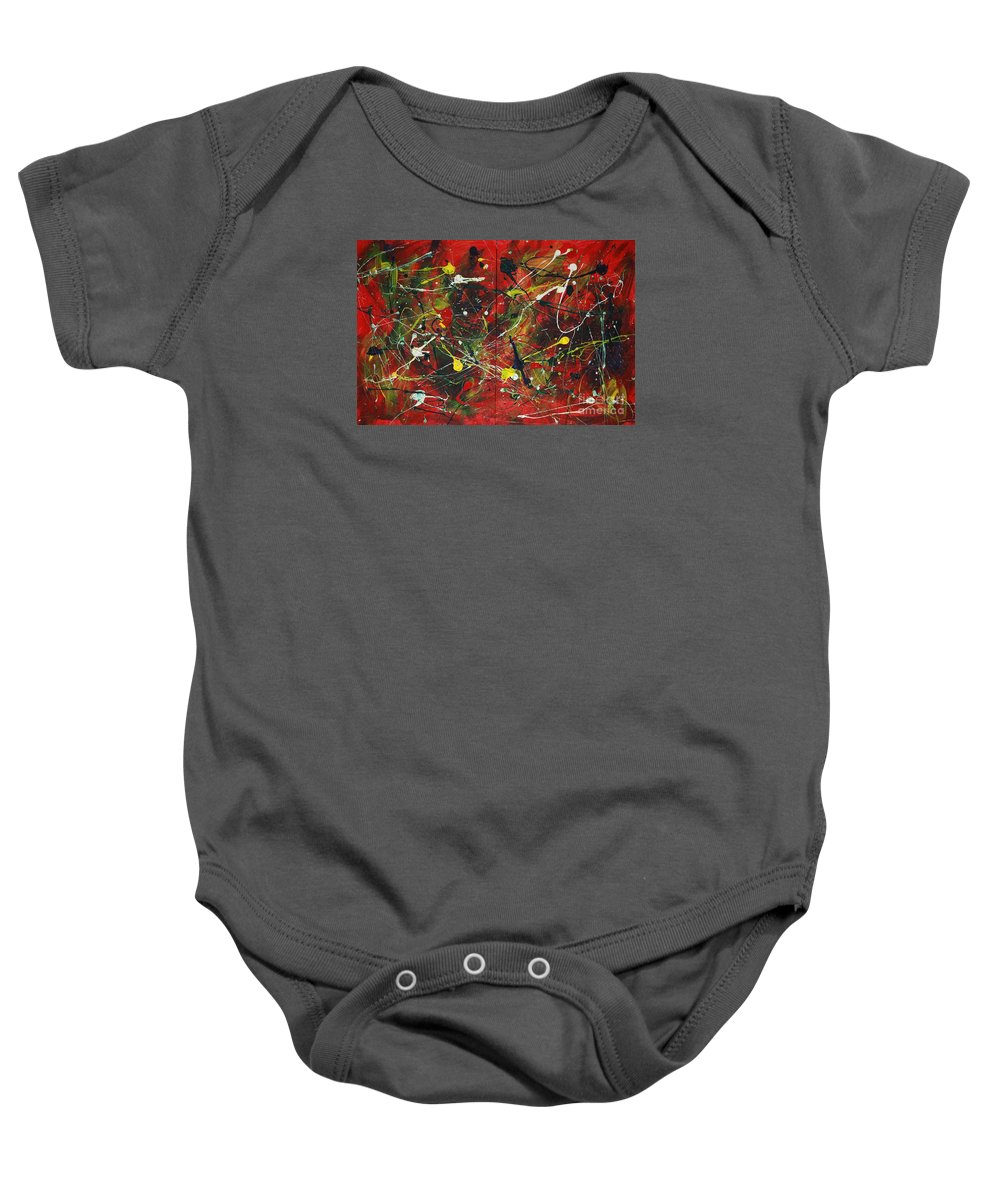 Splatter Baby Onesie featuring the painting On A High Note by Jacqueline Athmann