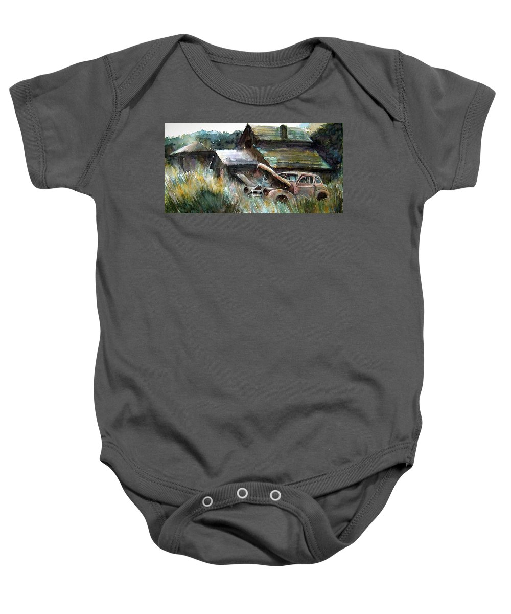 Car Barn Trees Baby Onesie featuring the painting On Borrowed Time by Ron Morrison