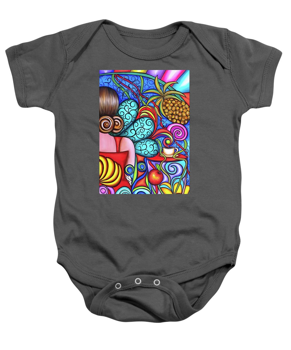 Cuba Baby Onesie featuring the painting On My Mind by Annie Maxwell