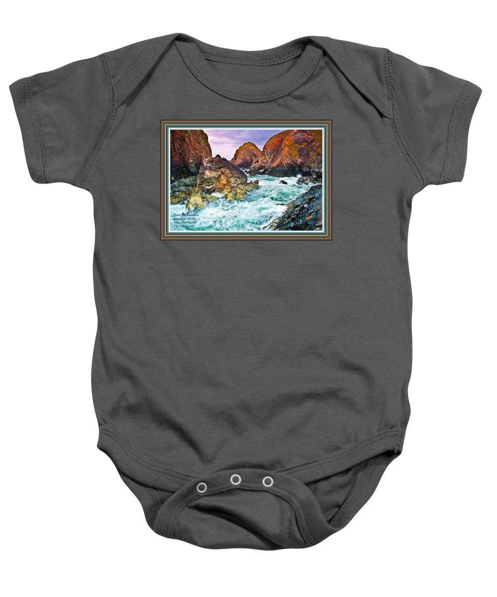 Rural Baby Onesie featuring the painting On The Coast Of Cornwall L A With Decorative Ornate Printed Frame. by Gert J Rheeders