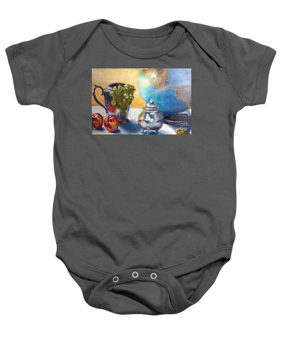 Globe Baby Onesie featuring the painting On The Etagiere by Leslie Dobbins