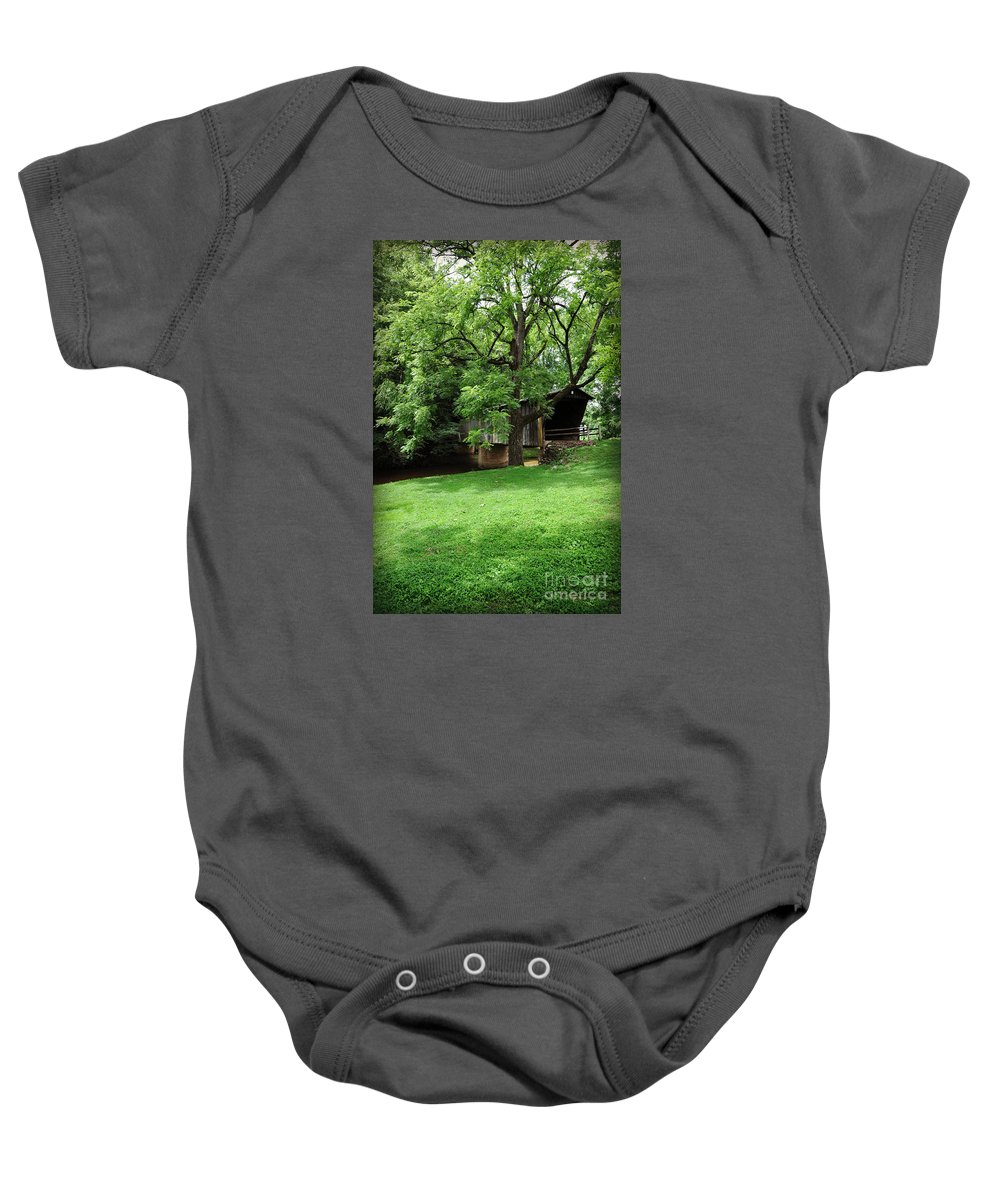 Virginia Covered Bridge Baby Onesie featuring the mixed media On the Green by Eric Liller