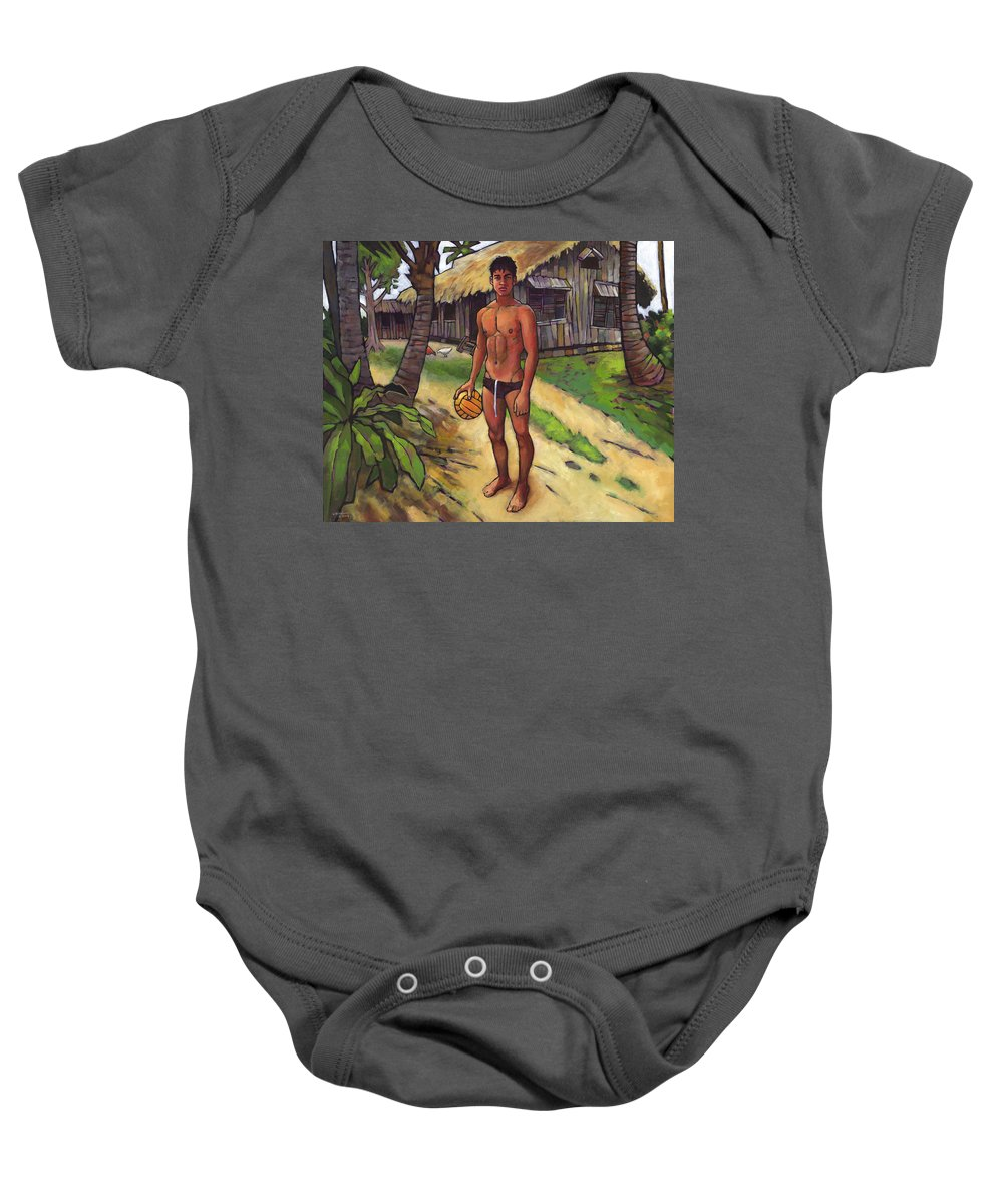 Boy Baby Onesie featuring the painting On The Old Beach Road by Douglas Simonson