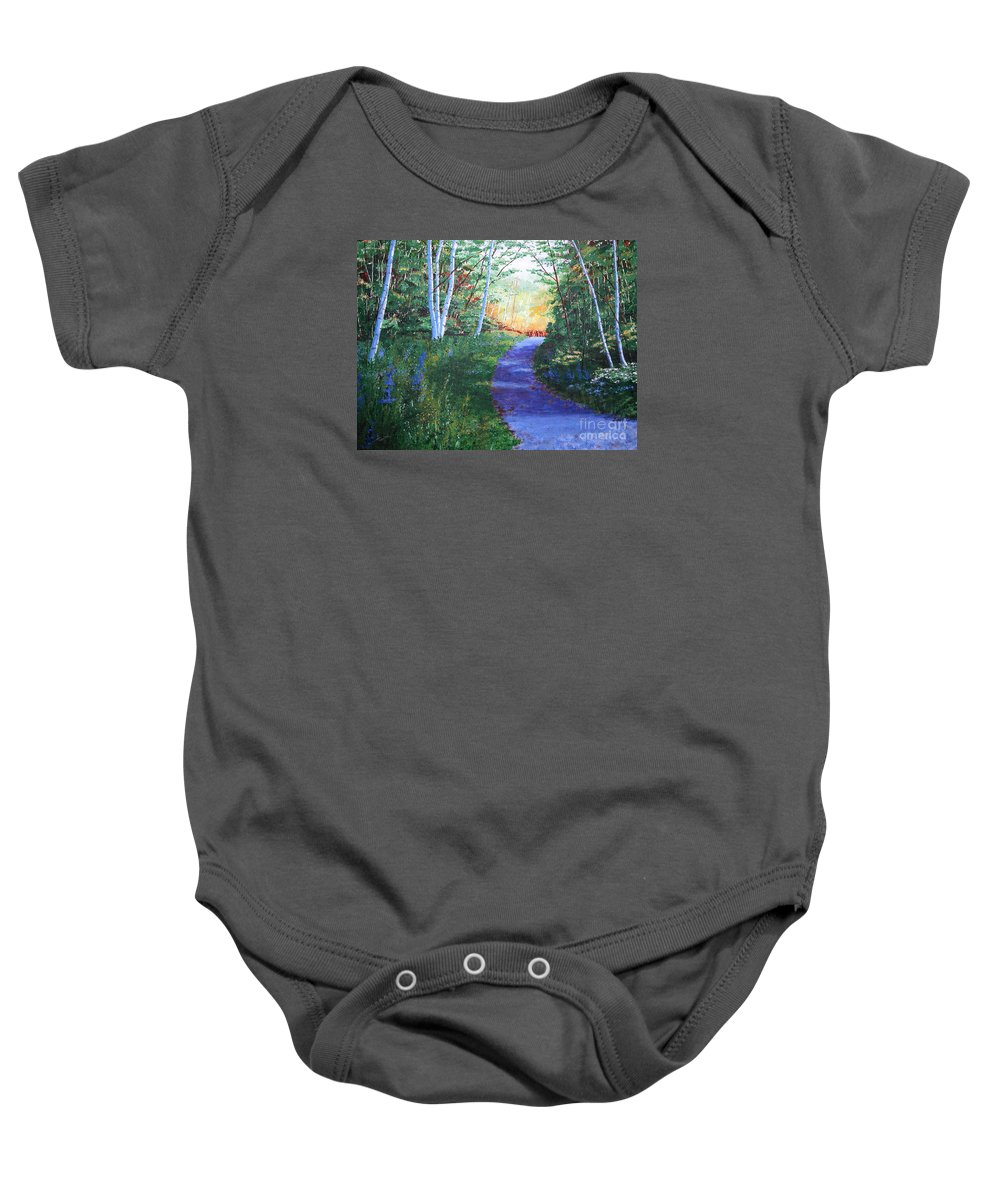 Pathway Baby Onesie featuring the painting On The Path by Lynn Quinn
