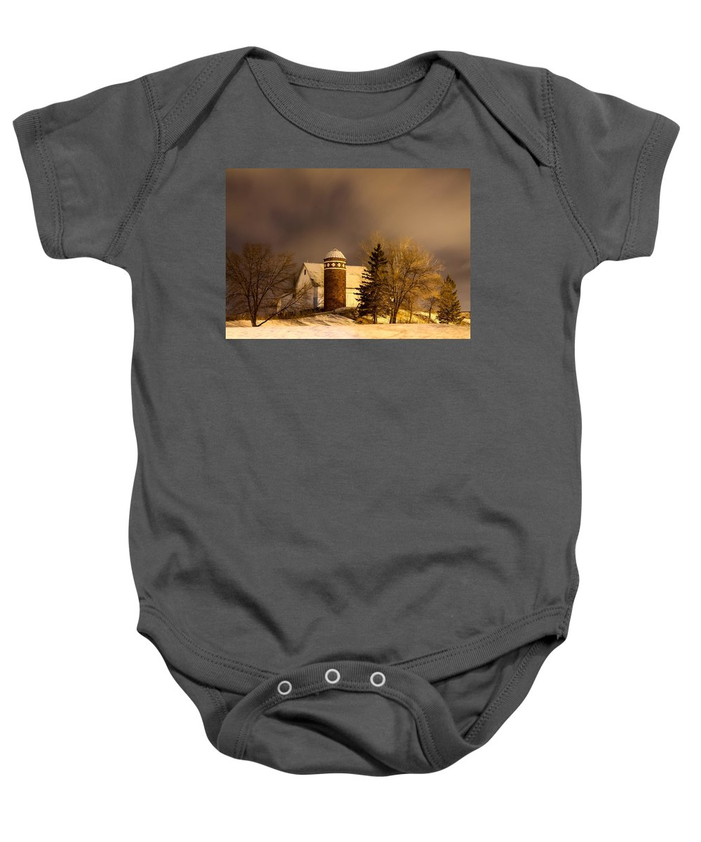 White Barn Baby Onesie featuring the photograph On The Prairie by Melinda Martin