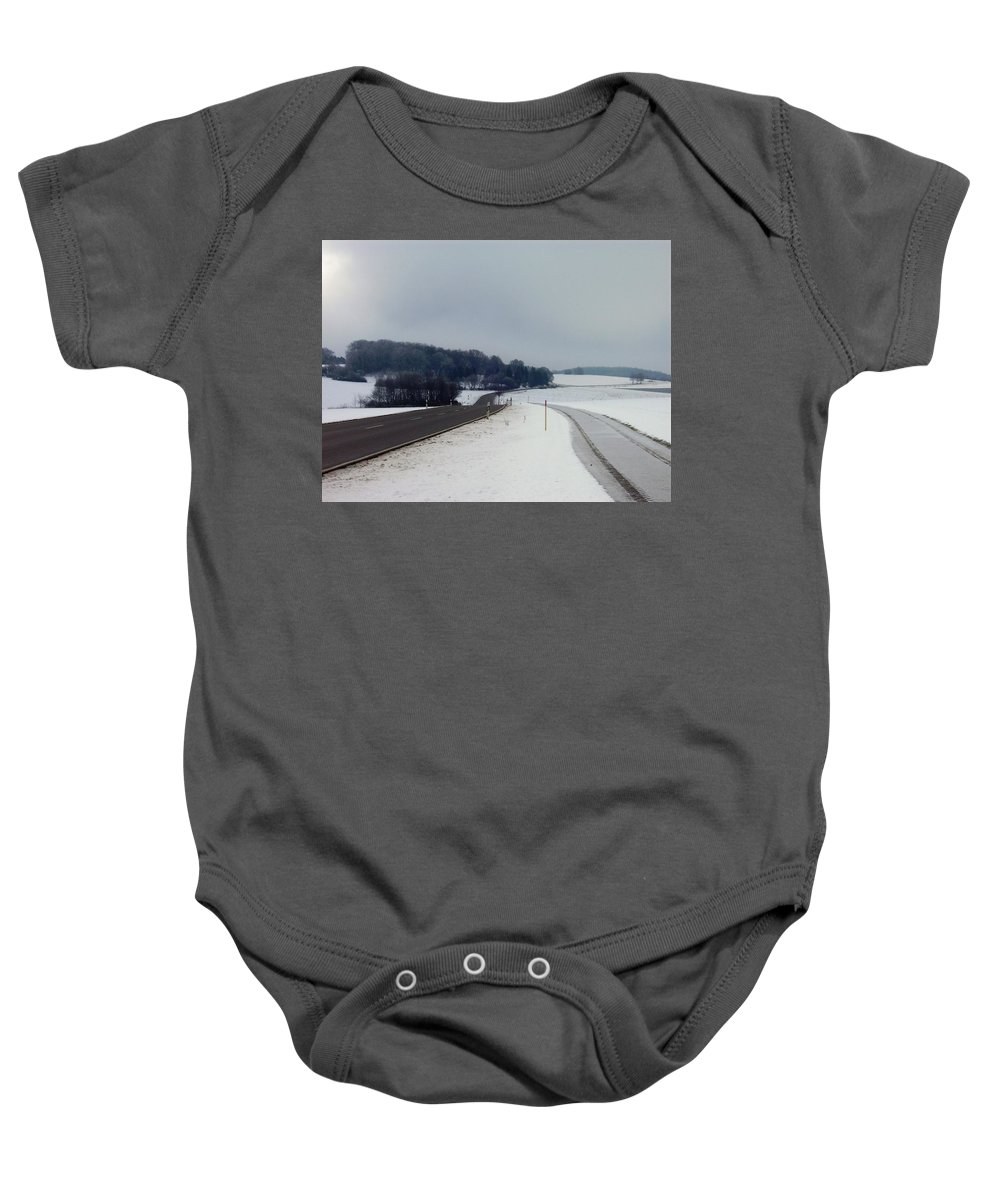 Winter Baby Onesie featuring the photograph On The Road by Britta Zehm