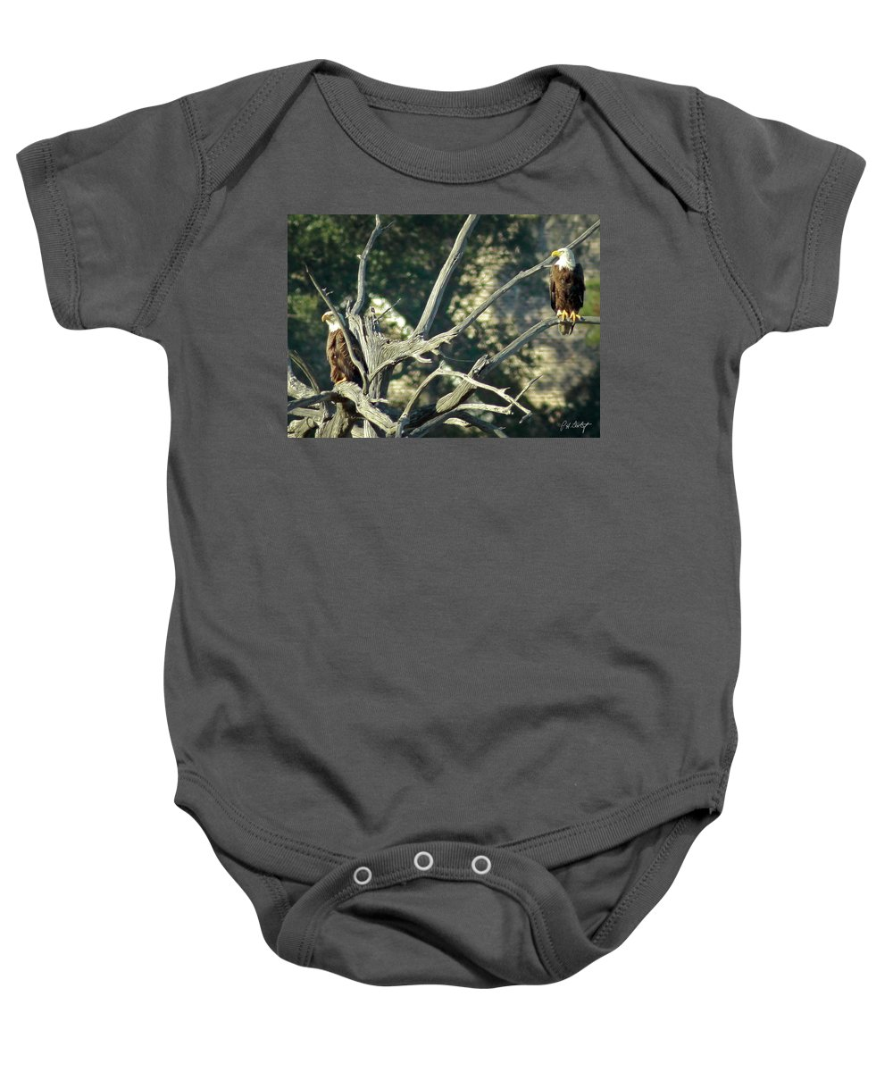 Bald Eagle Baby Onesie featuring the photograph On Watch by Phill Doherty