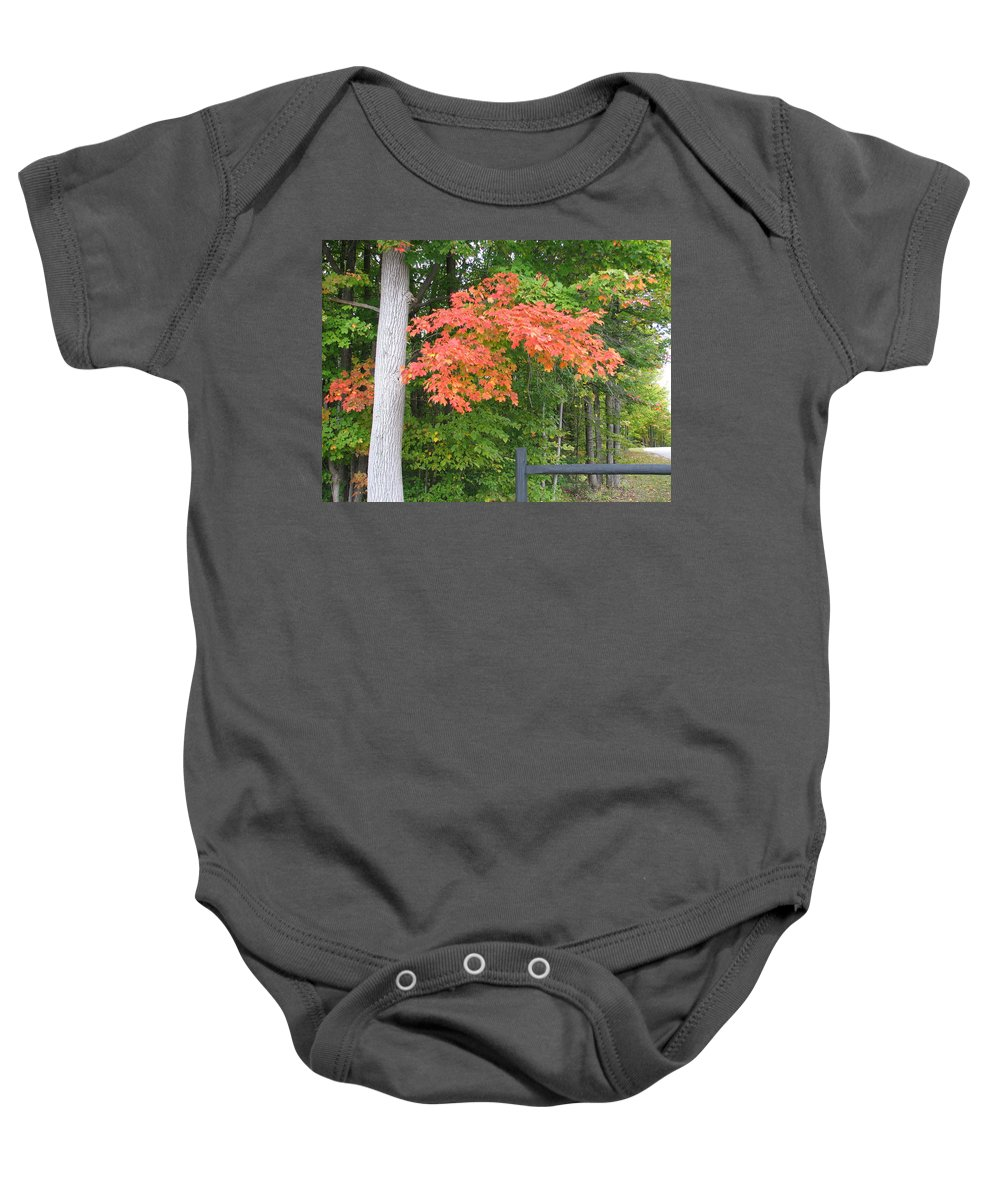 Fall Baby Onesie featuring the photograph Onaway by Kelly Mezzapelle