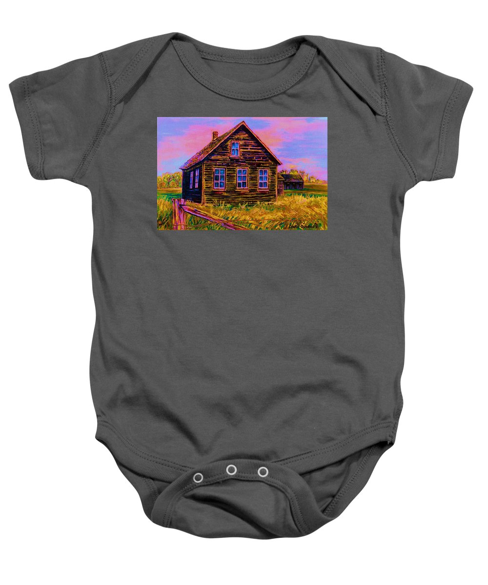 Western Art Baby Onesie featuring the painting One Room Schoolhouse by Carole Spandau