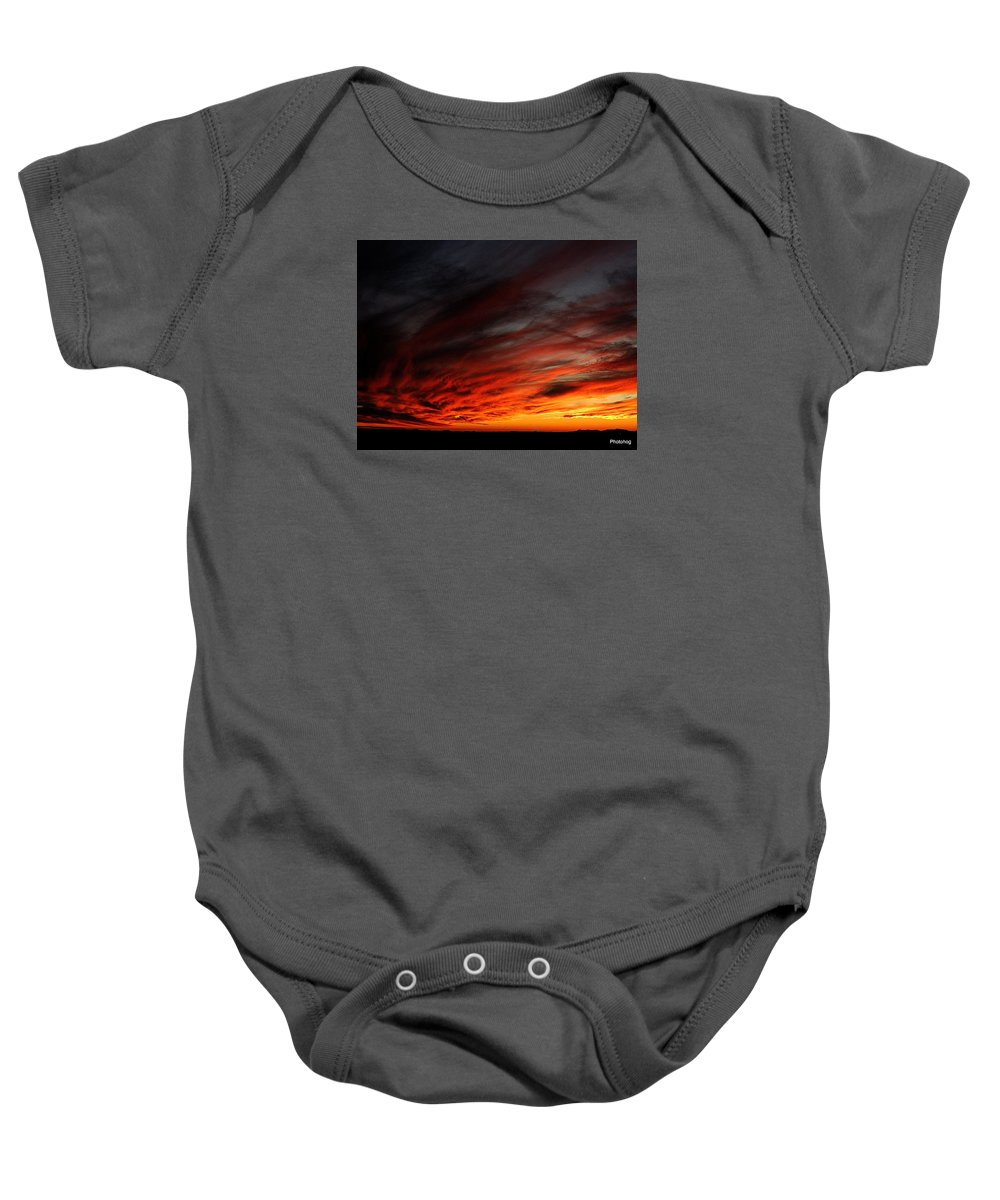 Sunset Baby Onesie featuring the photograph Only In The Desert by Adam Jones