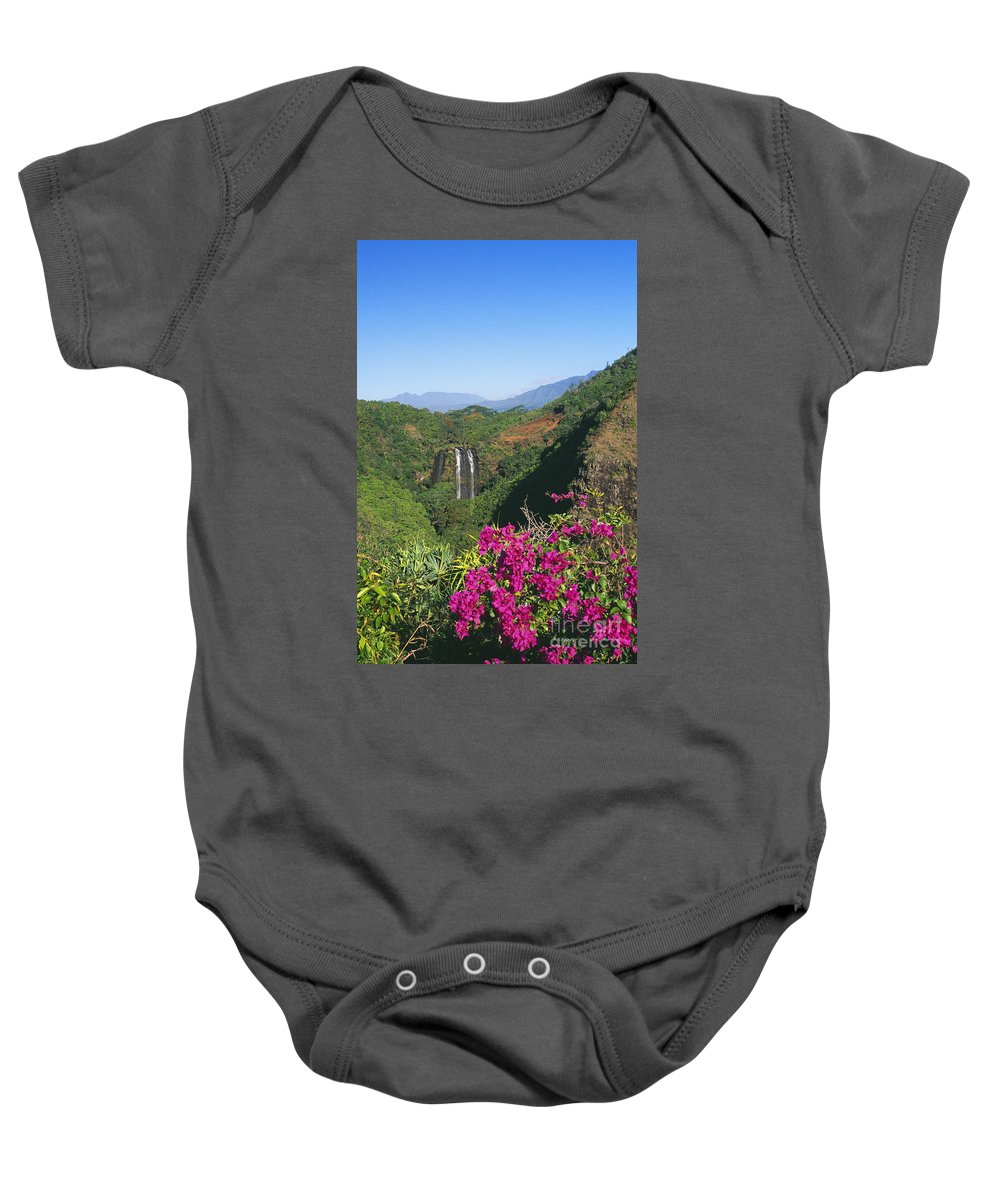 Beautiful Baby Onesie featuring the photograph Opaekaa Falls by William Waterfall - Printscapes
