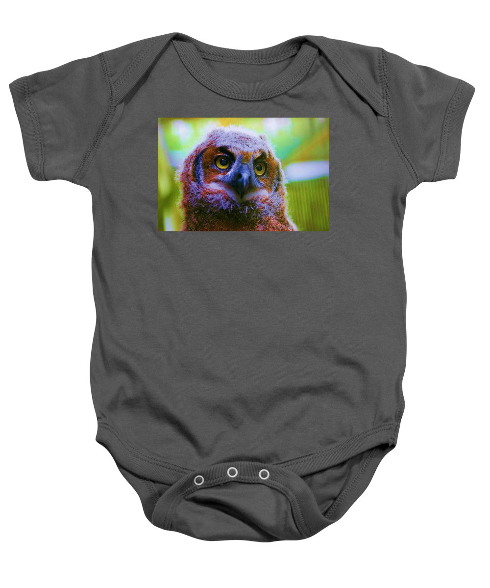 Owl Baby Onesie featuring the photograph Opalescent Owl by Nelson Strong