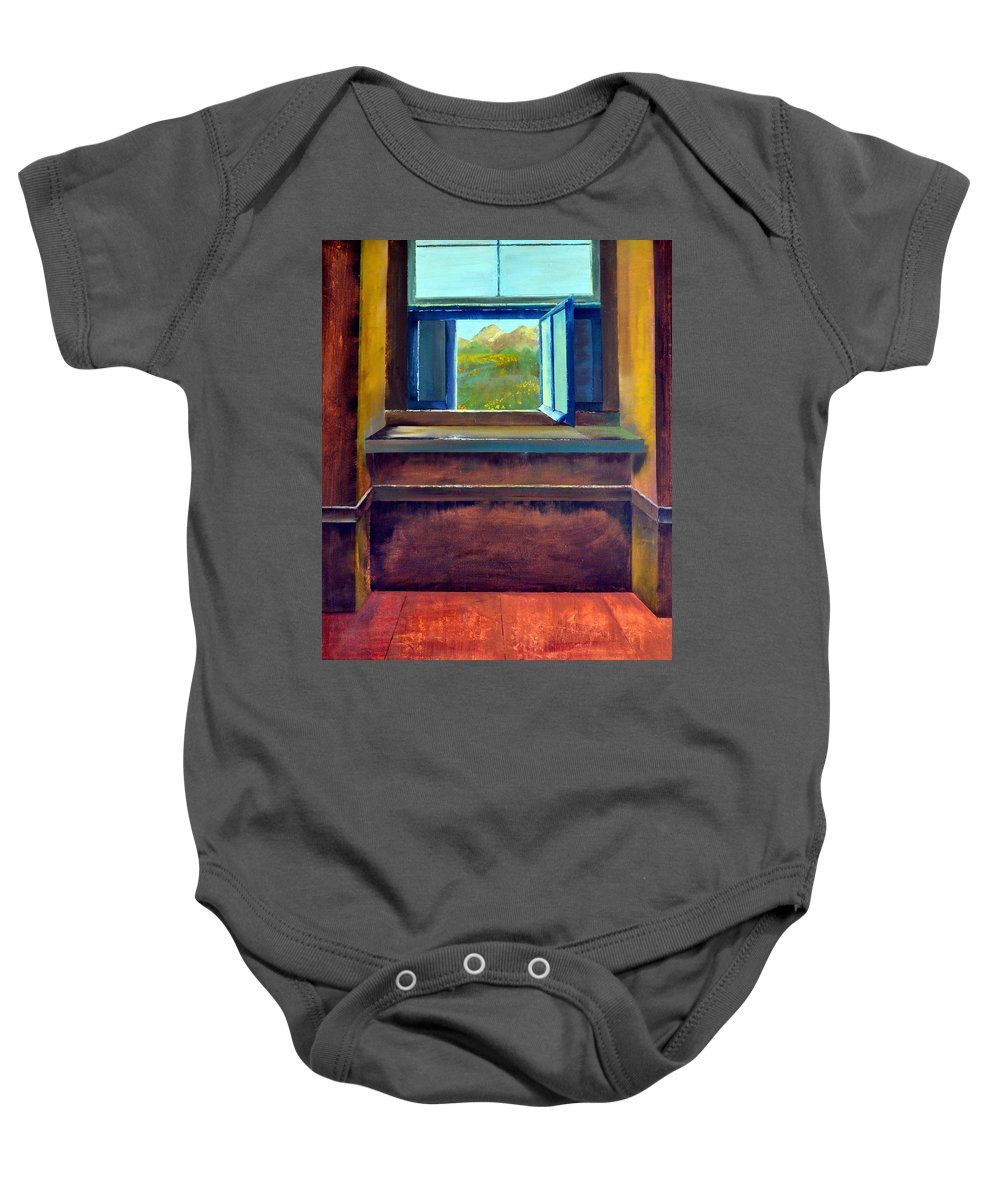 Trompe L'oeil Baby Onesie featuring the painting Open Window by Michelle Calkins