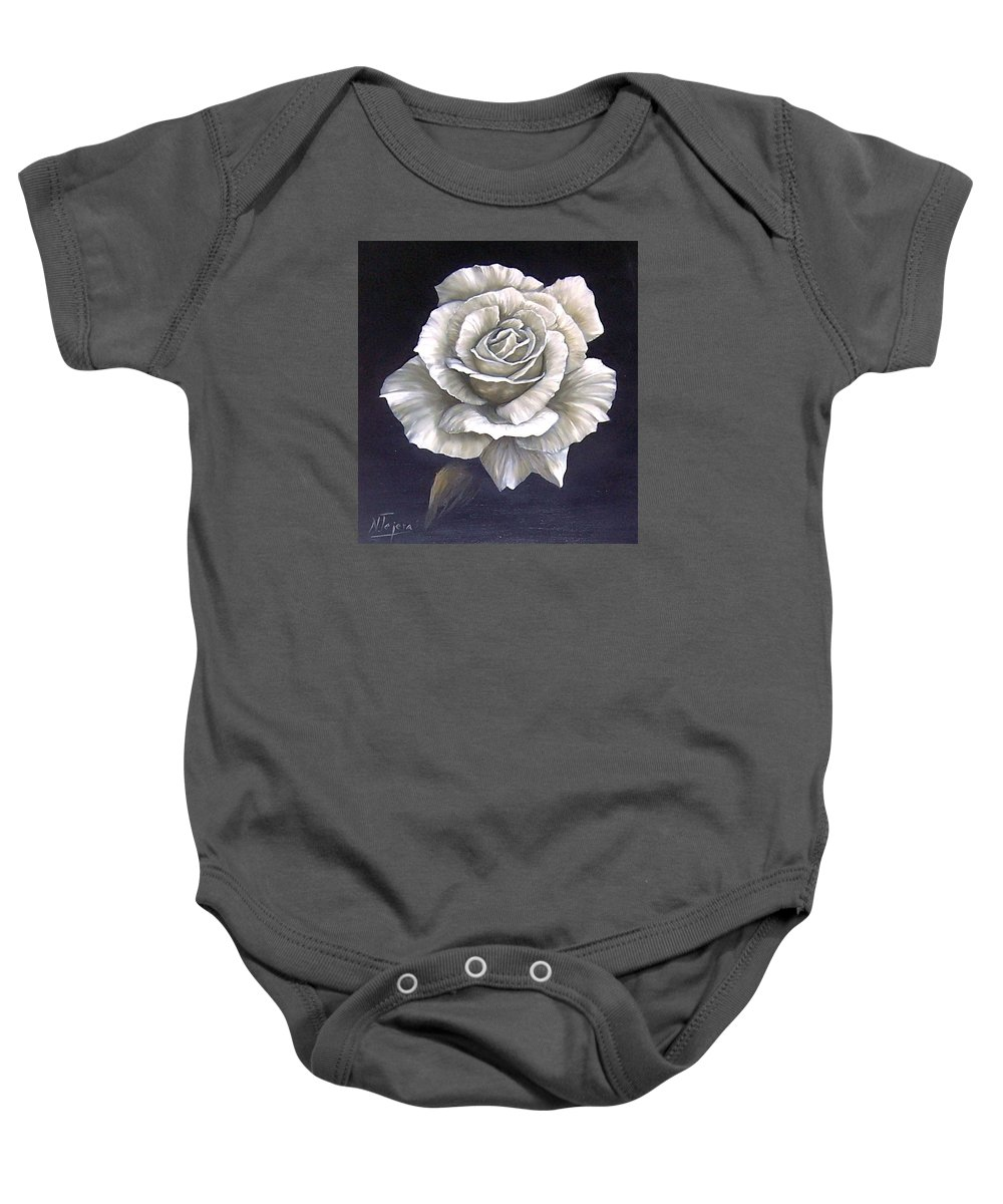 Rose Flower Baby Onesie featuring the painting Opened Rose by Natalia Tejera
