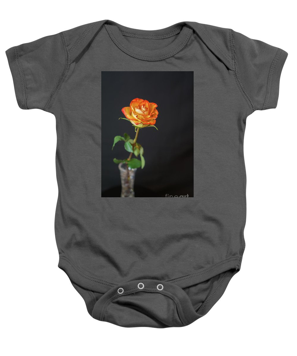 Black Background Baby Onesie featuring the photograph Orange Beauty by Annerose Walz