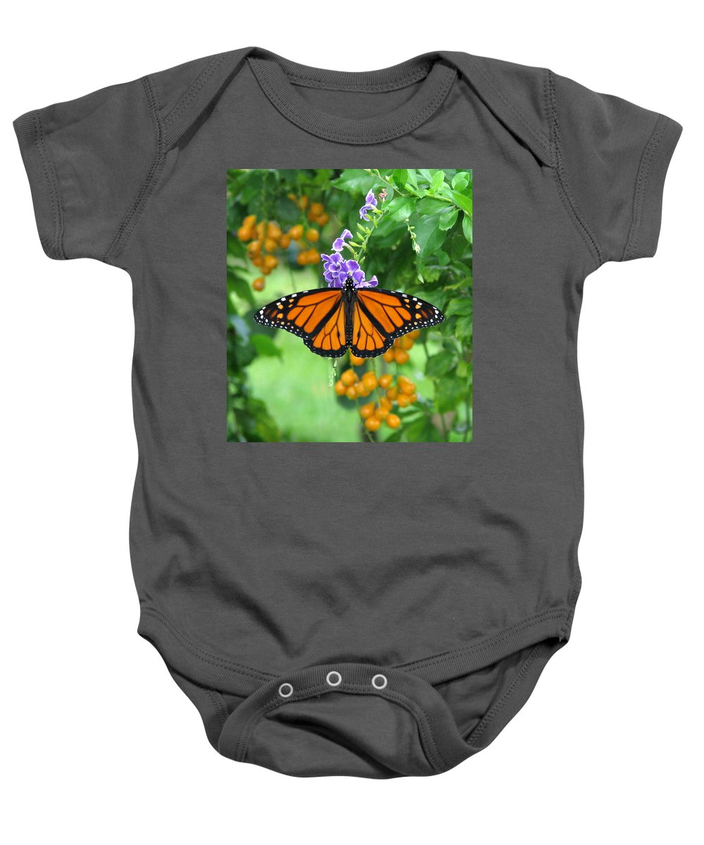 Monarch Baby Onesie featuring the photograph Orange Splendour by Peg Urban