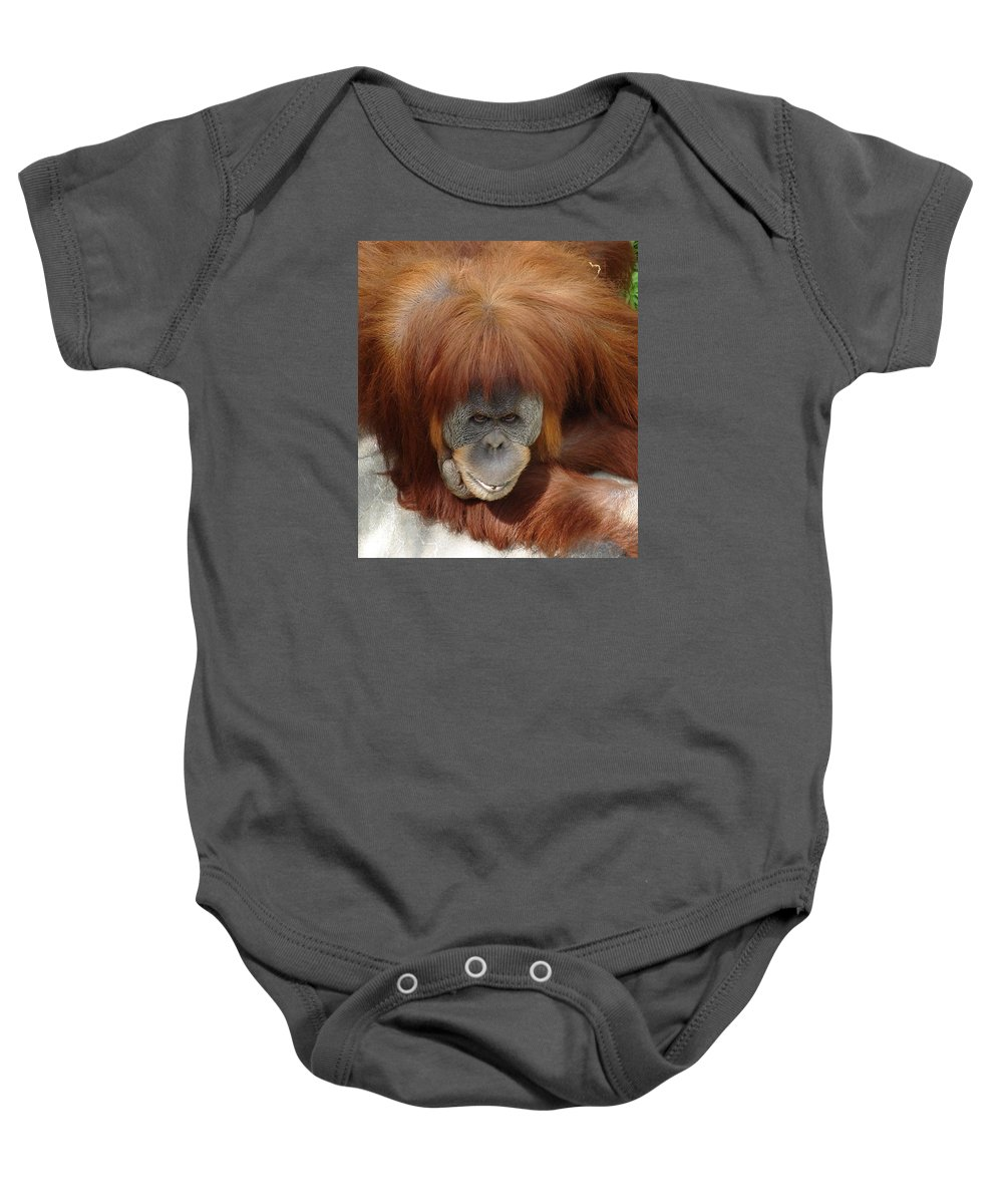 Red Ape Eyes Baby Onesie featuring the photograph Orangutan by Luciana Seymour