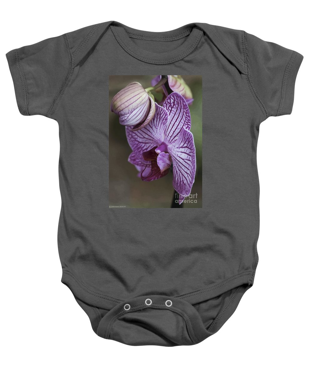 Flower Baby Onesie featuring the photograph Orchid Strips by Deborah Benoit