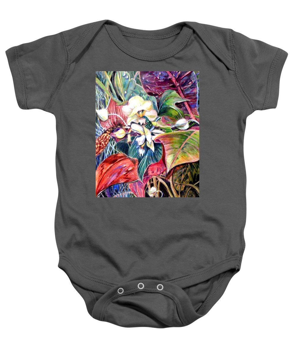 Valentines Baby Onesie featuring the drawing Orchids In White by Mindy Newman