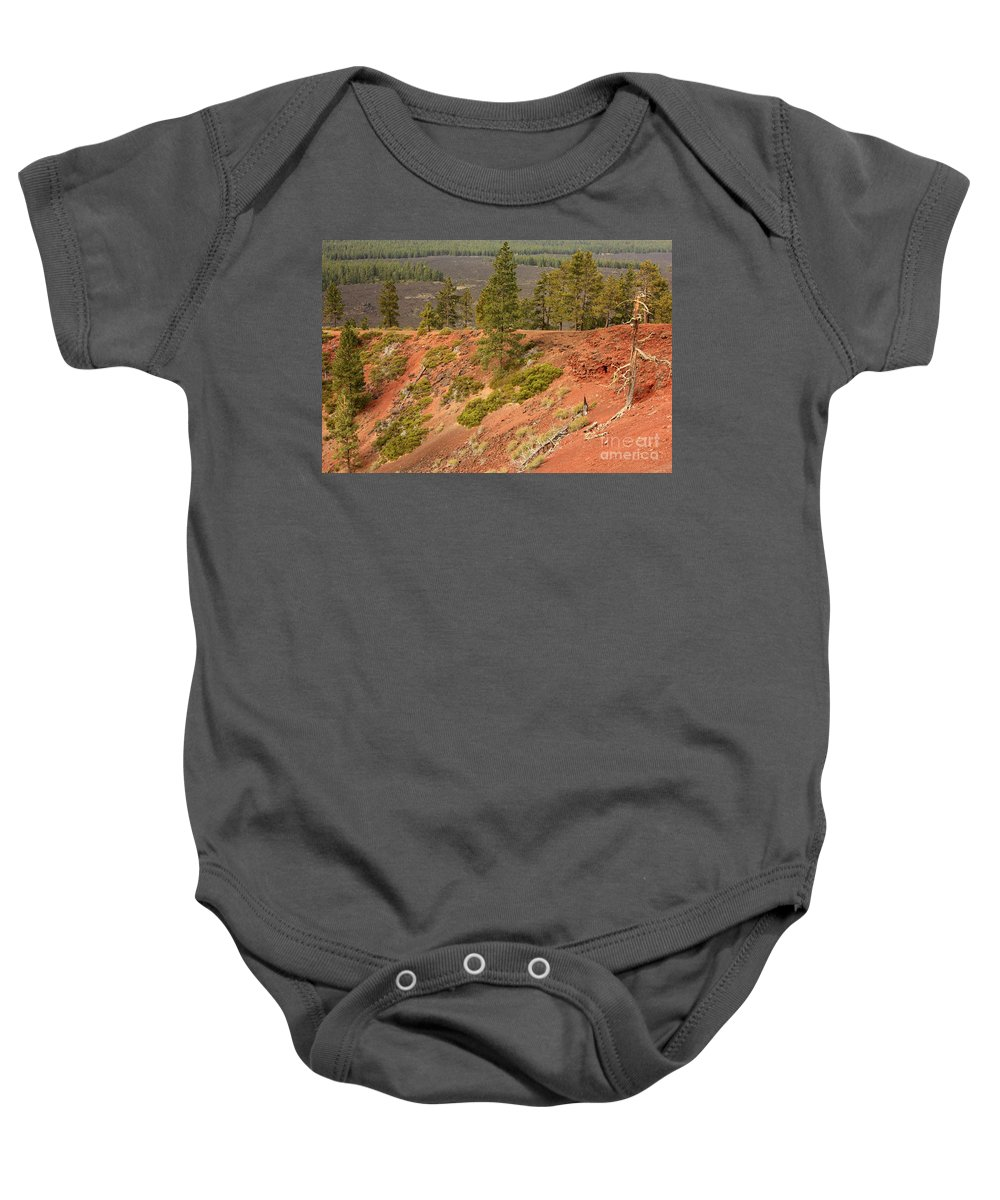 Oregon Landscape Baby Onesie featuring the photograph Oregon Landscape - Red Crater by Carol Groenen