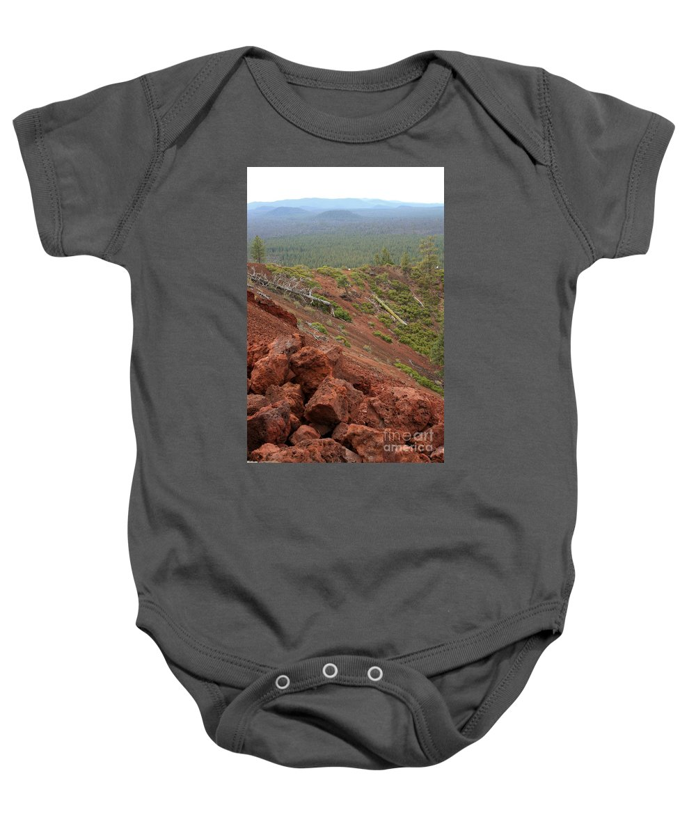 Oregon Baby Onesie featuring the photograph Oregon Landscape - Red Rocks At Lava Butte by Carol Groenen