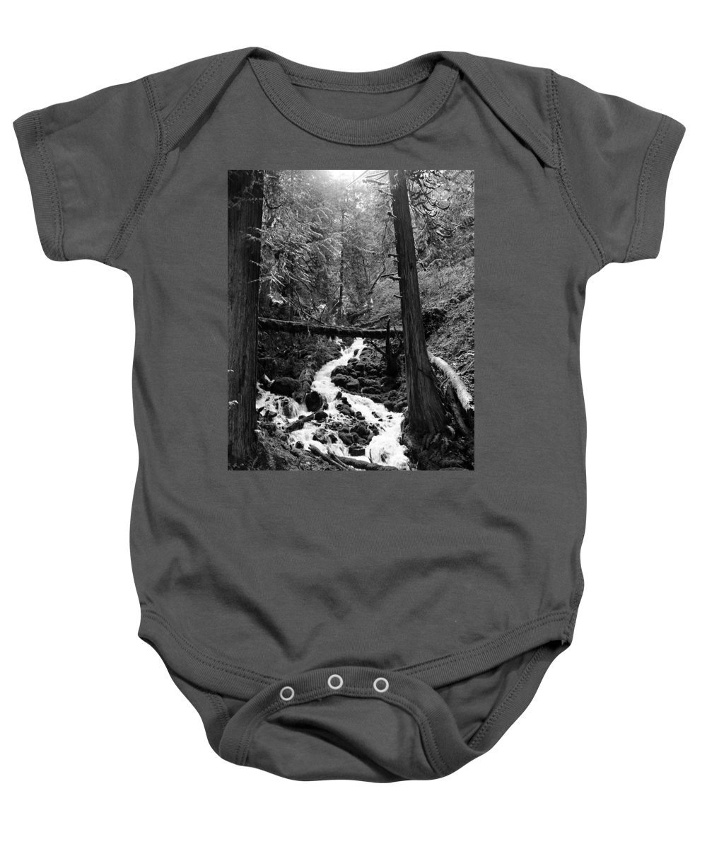 Oregon Baby Onesie featuring the photograph Oregon River Black And White by Sierra Vance