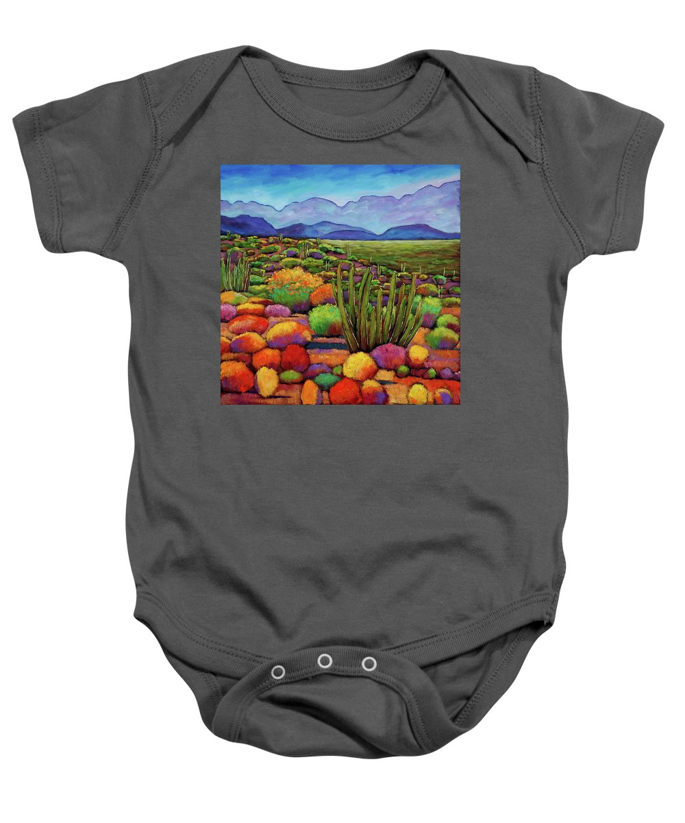 Desert Landscape Baby Onesie featuring the painting Organ Pipe by Johnathan Harris