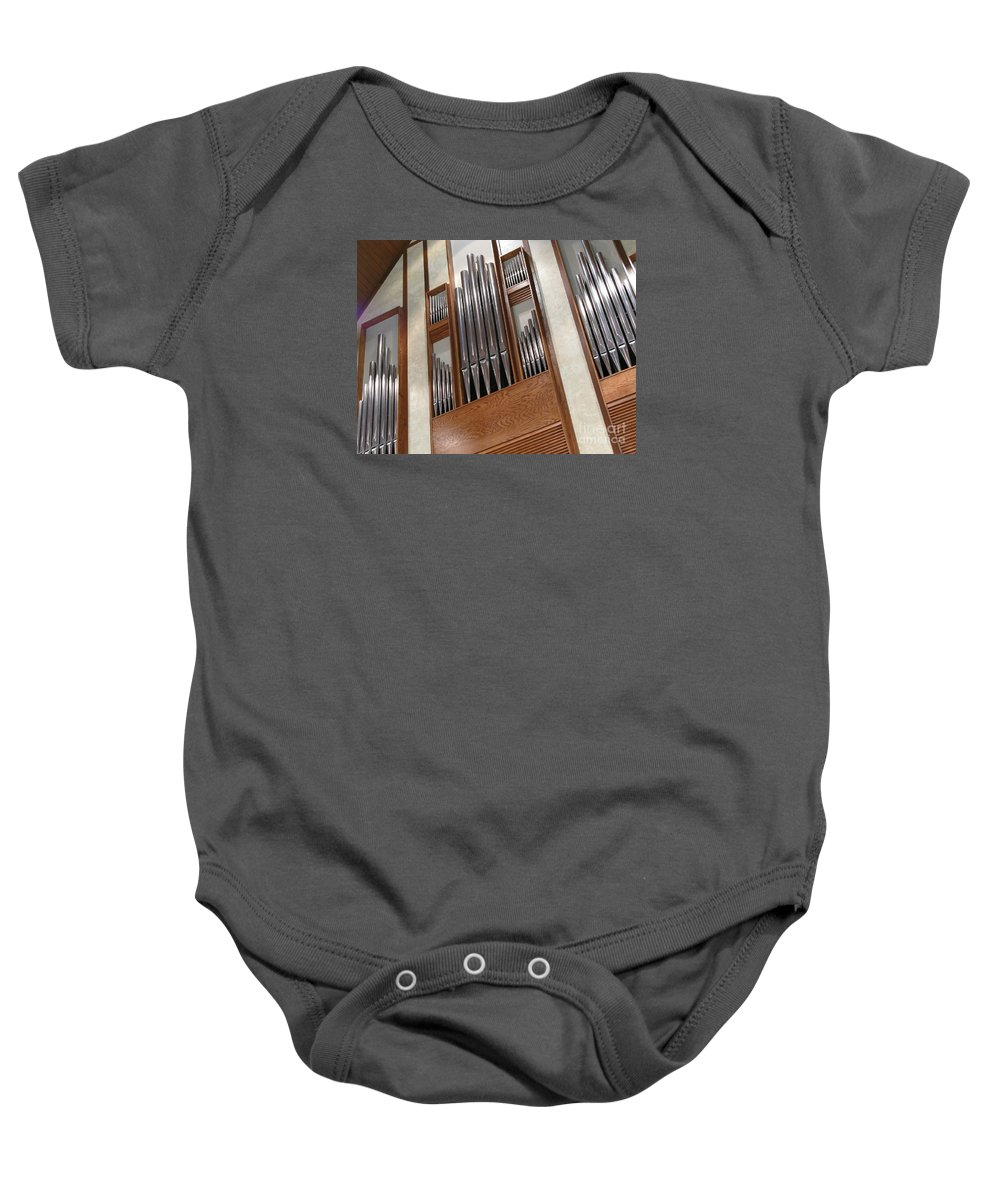 Music Baby Onesie featuring the photograph Organ Pipes by Ann Horn