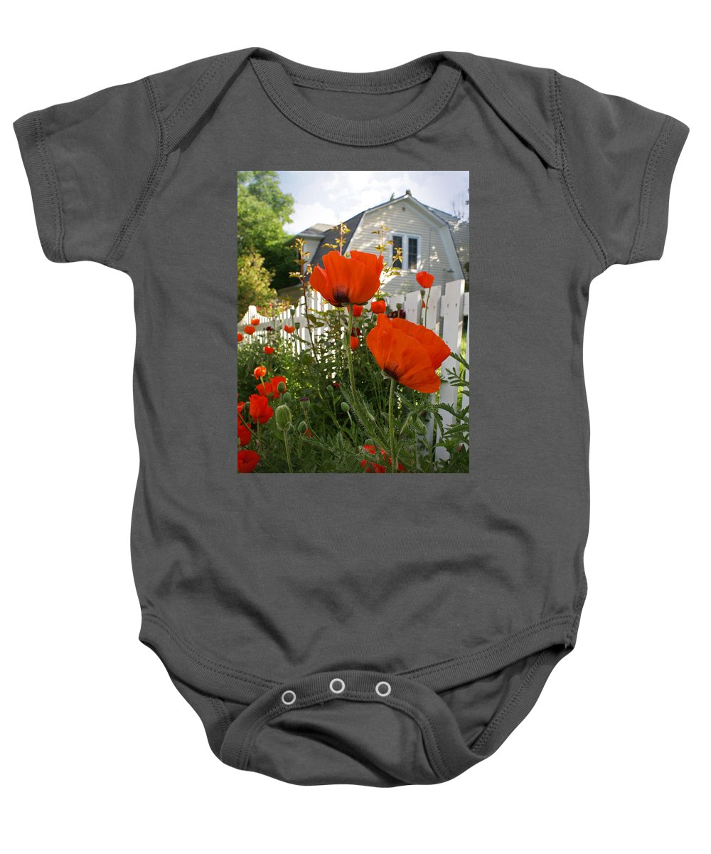 Poppies Baby Onesie featuring the photograph Oriental Poppies by Heather Coen