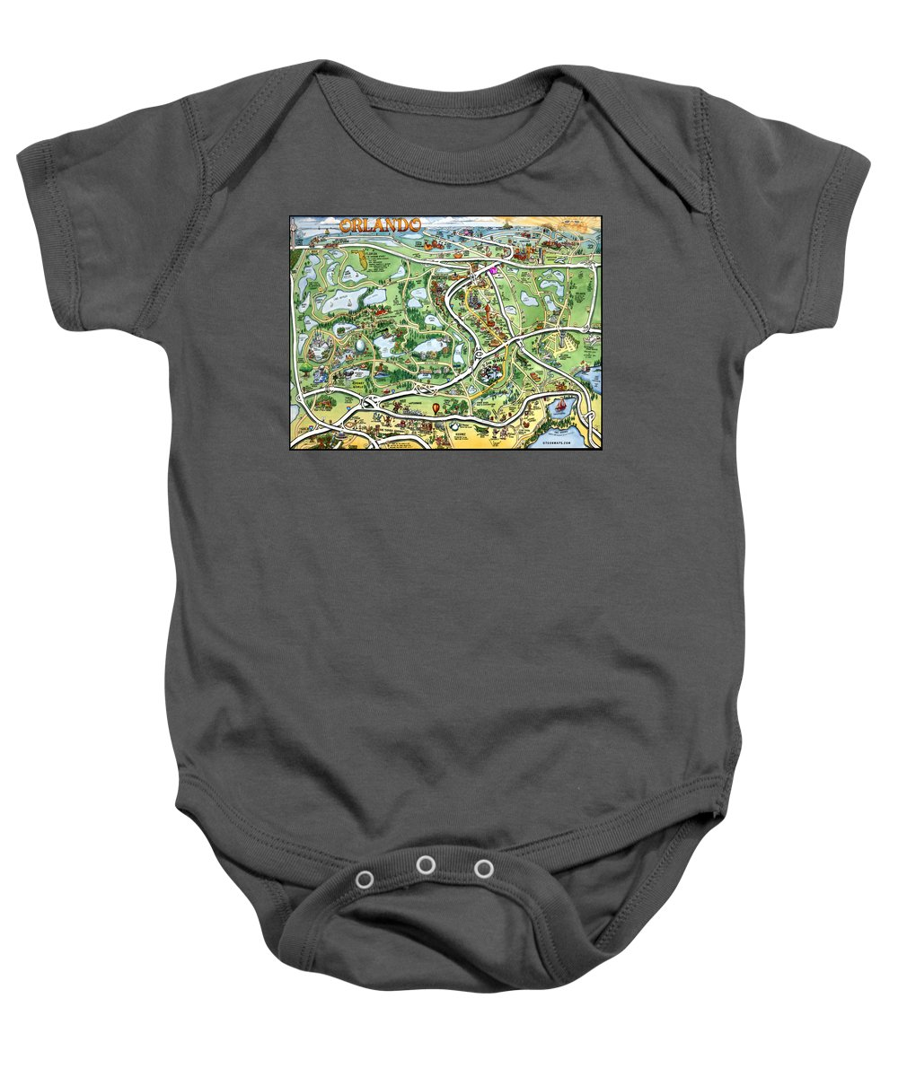 Orlando Baby Onesie featuring the digital art Orlando Florida Cartoon Map by Kevin Middleton