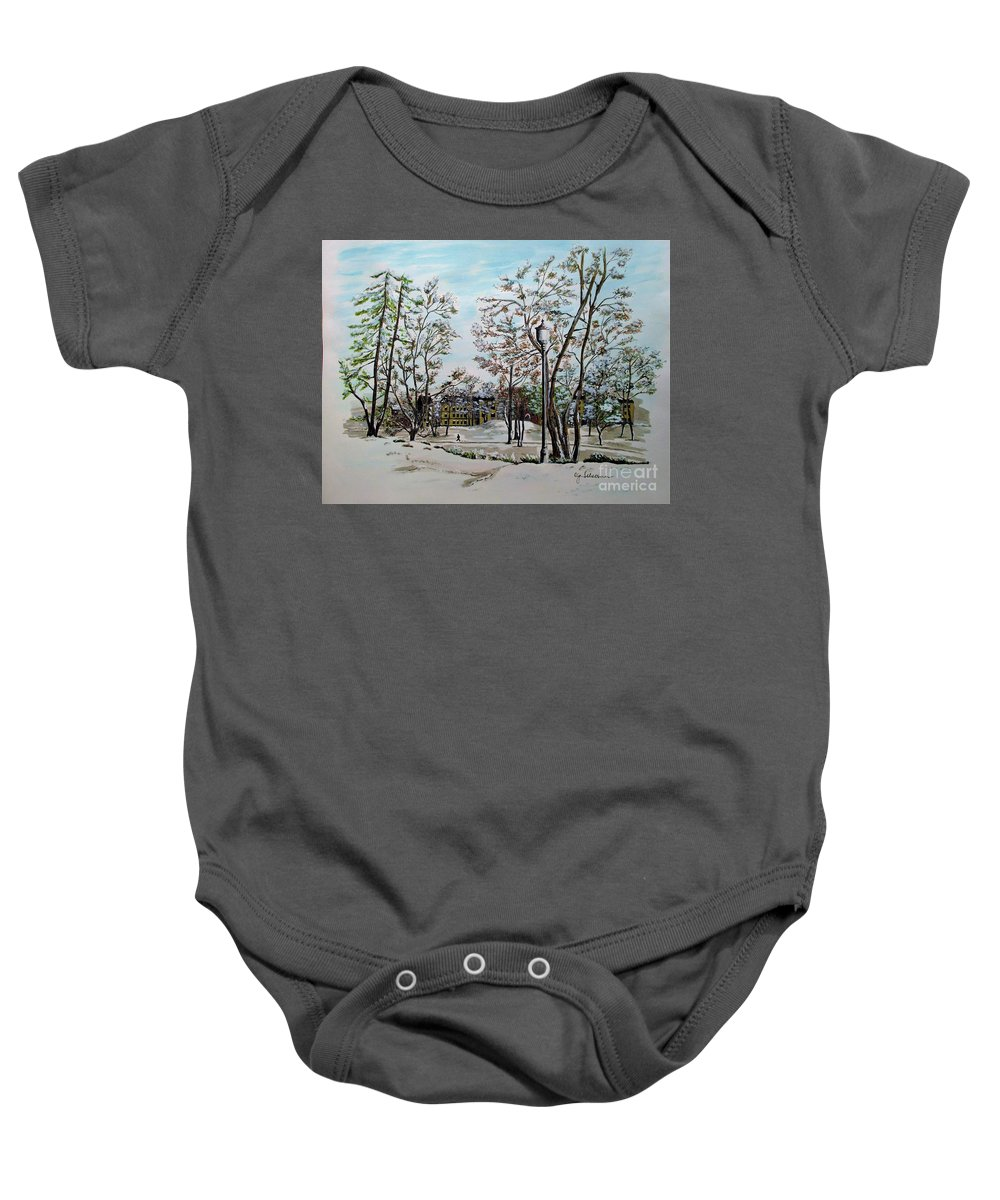 Oslo Baby Onesie featuring the painting Oslo In Winter by Olga Silverman